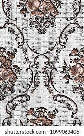 modern  seamless grunge damask pattern