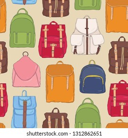 Modern seamless pattern with backpacks or rucksacks of different styles and  colors. Backdrop with stylish 3eda1a6754d85