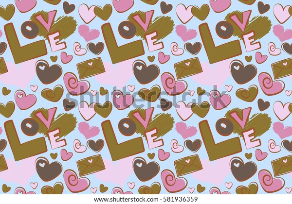 Modern seamless pattern can be used for wallpaper, pattern fills, fabric, textile, gifts, wrapping paper, scrapbooking. Pink and brown hearts, love text and letter.