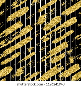 Modern seamless pattern with glitter brush stripes and strokes. Golden, white color on black background. Hand painted grange texture. Shiny spark elements. Fashion modern style. Repeat fabric print.