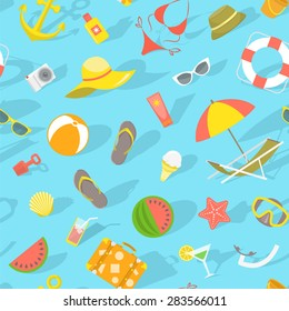 Modern seamless pattern with various beach essentials in flat style. Summer vacation traveling background. Web site backdrop, book cover, printing on fabric, wallpaper design