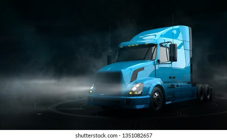 Modern semi truck side view on dark background with tech user interface and smoke (3D illustration)
