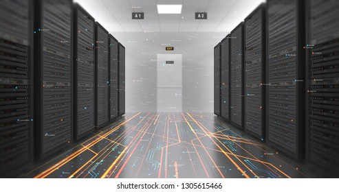 Modern Server Room Environment. Computer Racks All Around With Flying Numbers. Technology Related 4K 3D Render.
