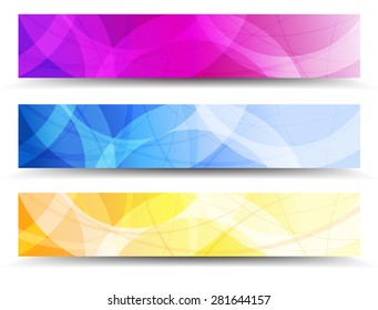 A Modern set of Banners Headers with Abstract Background - Abstract Orange Purple and Blue Web Banners - Raster Version