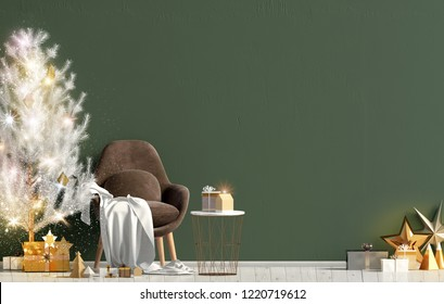 Modern shining Christmas interior with chair, Scandinavian style. Wall mock up. 3D illustration