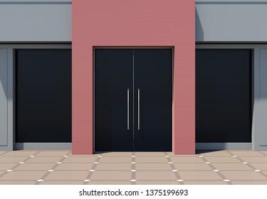 Modern shop facade with large windows 3D render
