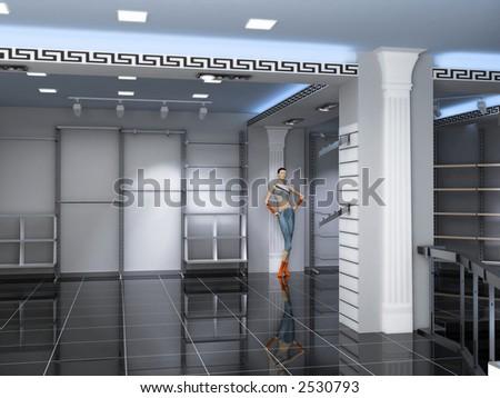 Modern Shop Interior Design Computergenerated Image Stock ...
