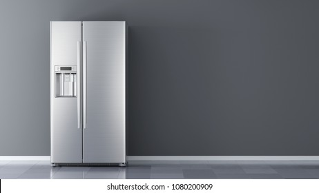 Modern side by side Stainless Steel Refrigerator. Fridge Freezer Isolated on a White Background. 3d rendering
