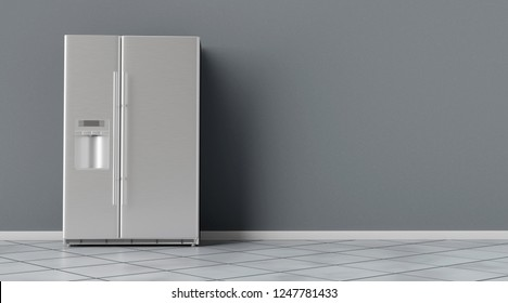 Modern side by side Stainless Steel Refrigerator. Fridge Freezer interior. 3d rendering