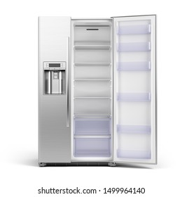Modern side by side Stainless Steel Refrigerator. Fridge Freezer with open door isolated on white Background. 3d rendering