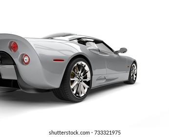 Modern silver super sports car - tail view cut shot - 3D Illustration