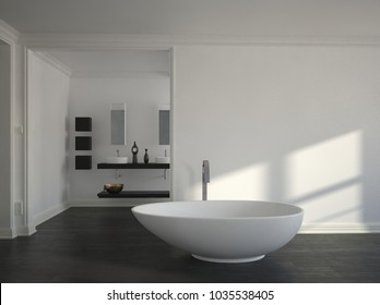 Modern simple bathroom with sunlight from a window lighting up the white wall and boat-shaped freestanding tub over a dark floor. 3d rendering