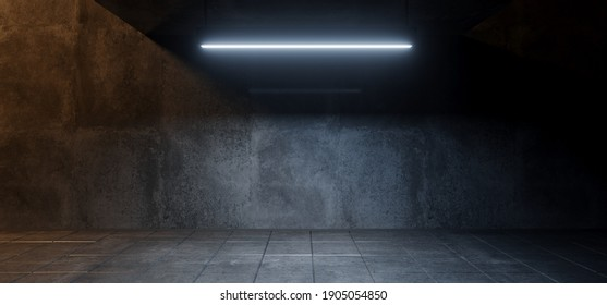 Modern Simple Underground Realistic Light Glowing On Cement Concrete Dark Room Hangar Parking Car Showroom Tiled Floor Background 3D Rendering Illustration