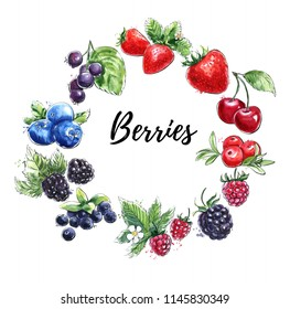 Modern sketchy watercolor illustration Berries. Cherry, raspberry, strawberry, blackberry, blueberry, bilberry, cranberry. Hand drawn objects isolated on white in circle frame composition.