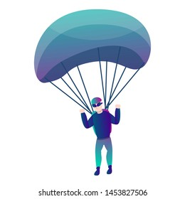 Modern skydiver with parachute icon.