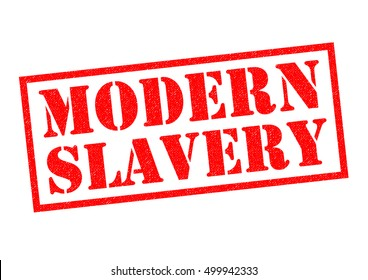 MODERN SLAVERY red Rubber Stamp over a white background.