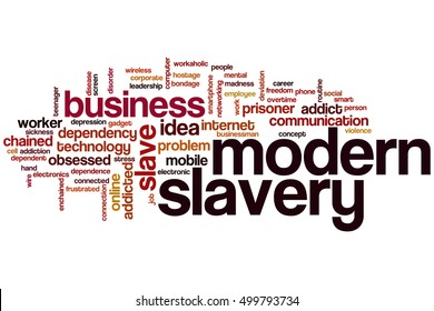 Modern slavery word cloud concept, tags related to modern slavery in business.