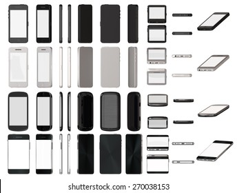 Modern smart phones set different angle views isolated on white template.