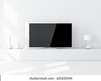 Modern Smart Tv Mockup on stand, white living room. 3d rendering
