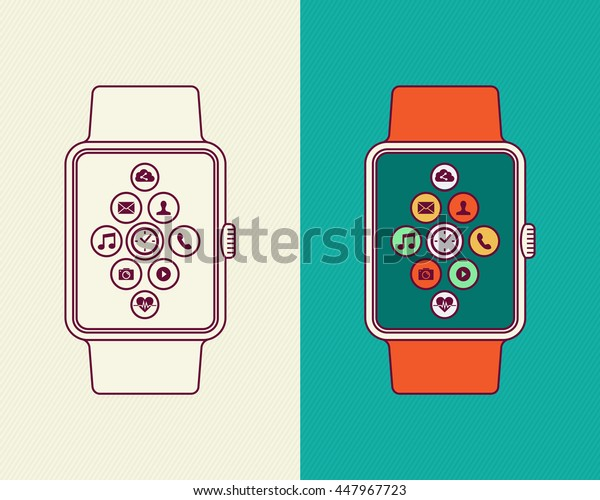 Modern smart watch illustrations, flat line art style composition with colorful social app icons and outline design.