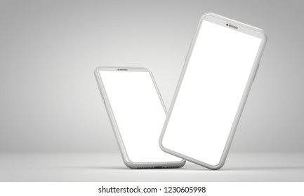 Modern smartphone blank screen template. abstract white trendy fashionable mockup. 3D Rendering