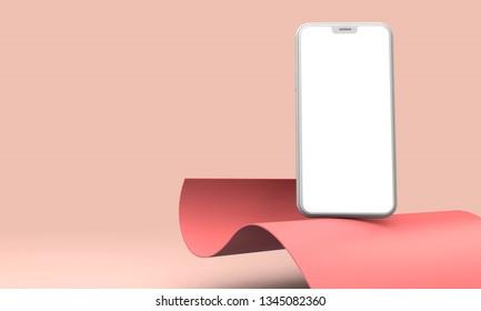 Modern smartphone blank screen template. Trendy mockup scene. 3D Rendering