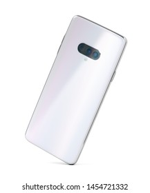 Modern smartphone with shiny white back panel and triple camera, 3D illustration