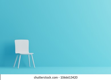 modern sofa in blue living room. Minimal style concept. pastel color style. 3D render.