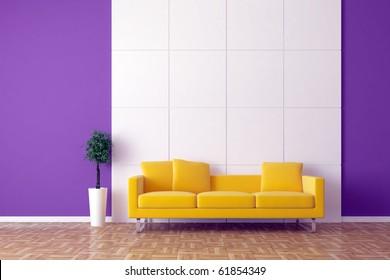 Modern sofa with bonsai