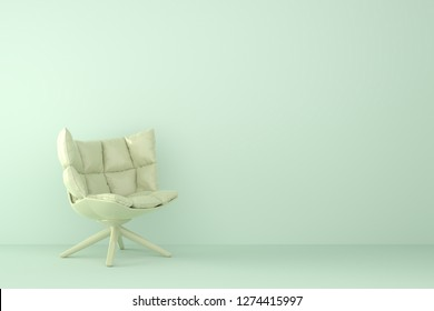 modern sofa in light green living room. Minimal style concept. pastel color style. 3D render