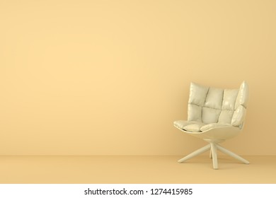 modern sofa in orange living room. Minimal style concept. pastel color style. 3D render