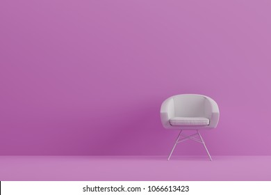 modern sofa in pink living room. Minimal style concept. pastel color style. 3D render.
