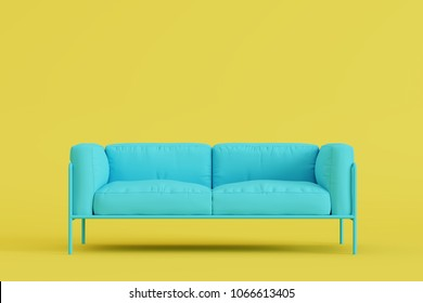 modern sofa in yellow living room. Minimal style concept. pastel color style. 3D render.