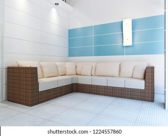 Modern soft sofa from rattan in the pool room. 3D rendering.