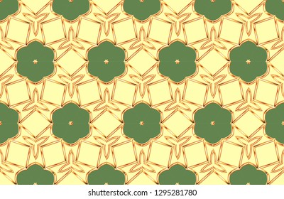 Modern solution for finishing the rooms with metal mosaics. Popular trend. Computer Graphics Development pattern with symmetrical geometric patterns. A popular trend in interior decoration.