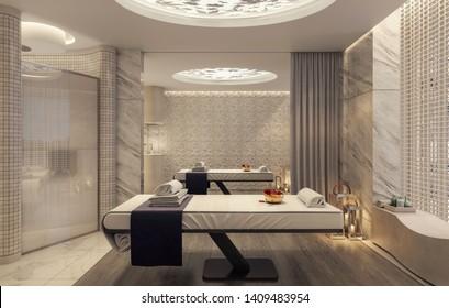 Modern spa and beauty massage salon 3D Rendering, 3D Illustration
