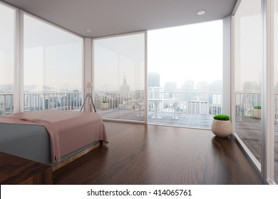 Modern spacious bedroom interior with balcony and new York city view. 3D Rendering
