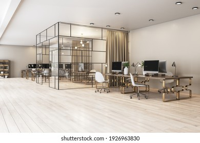 Modern spacious cabinet with glass walls in stylish office with wooden tables on bronze legs. 3D rendering