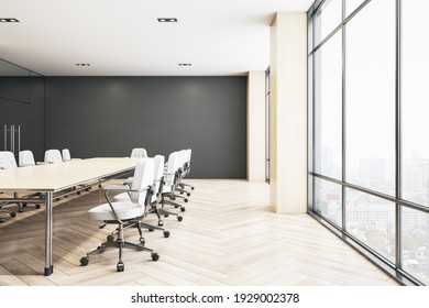 Modern spacious conference room with dark wall, big wooden table and white chairs around, and city view from big window. 3D rendering