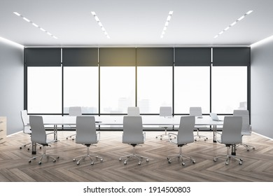 Modern spacious eco style meeting room with dark wooden parquet, white furniture and big glass wall as a window with blackout curtains and city view. 3D rendering.