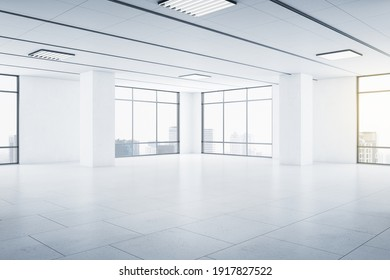 Modern spacious empty light hall room with big windows, ceramic tiles on the floor and lights on top. 3D rendering