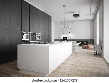 Moderna y espaciosa cocina en interiores de lujo - Renderizado 3D