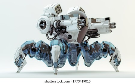 Modern spider-like armed soldier. Sci-fi robotic warrior with guns, 3d rendering