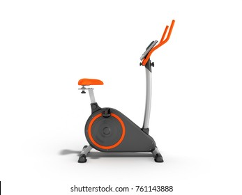 modern sport exercise bike yellow purple 3d render on white background