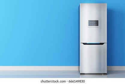 Modern stainless fridge and blue wall. 3d illustration