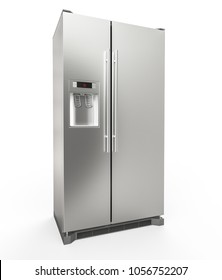 Modern Stainless Steel Refrigerator isolated on white background - 3D Rendering