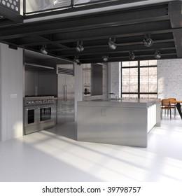 Modern steel kitchen in converted industrial loft (3D render)