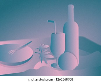 Modern still life. Digital painting. Wine bottle, crystal glass and apple (or orange), leaves in the table. Empty plate with a lone fork. Drapery. Pastel-colored impressionism-style graphics.