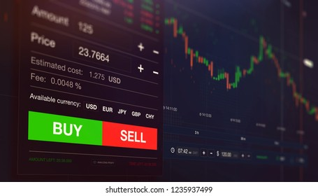 Modern stock exchange scene with chart, numbers and BUY and SELL options (3D illustration)