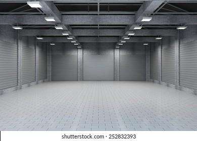 Moderna Storehouse 3D Interior con persianas metálicas Cerradas. Representación 3D